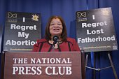 "Alveda King, niece of civil rights leader Martin Luther King Jr. and director of African-American Outreach for Priests for Life, speaks during a press conference announcing the ""Healing the Shockwaves of Abortion"" project on January 8, 2015 at the National Press Club in Washington, DC. The project aims to reach out to those impacted by abortion. AFP PHOTO/Mandel NGAN"